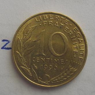 ФРАНЦИЯ, 10 сантимов 1990 года.