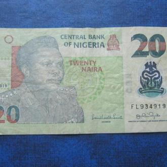 банкнота 20 найра Нигерия 2010 пластик №2