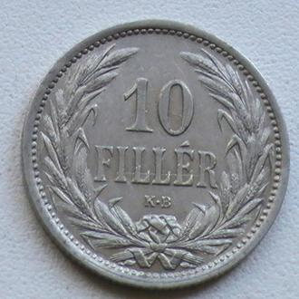 10 Филлеров 1909 г КВ Австро-Венгрия 10 Філерів 1909 р КВ Австро-Угорщина