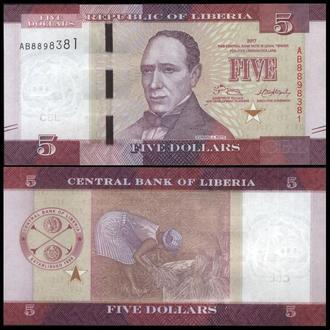 ЛИБЕРИЯ 5 долларов 2017г. UNC