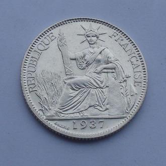 1937 г - 20 сантим Французский Индокитай,серебро,UNC