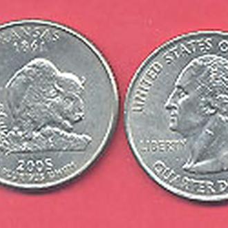 Монеты Америка США  25 центов 2005 г. Канзас.