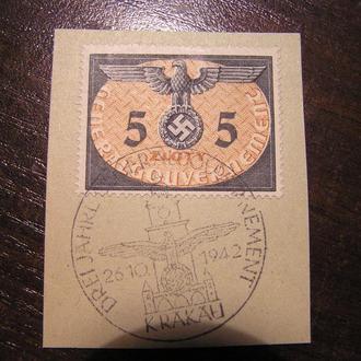 Генералгубернаторство ГГ Польща Польша 194 Германия Mi 15  гашення Краків службова рейх  свастика