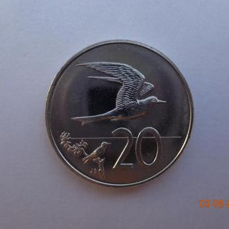 "о-ва Кука 20 центов 1988 Elizabeth II ""Fairy Tern"" СУПЕР состояние редкая"