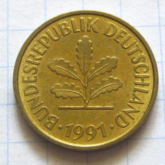 Германия_ 5 пфенниг 1991 F оригинал