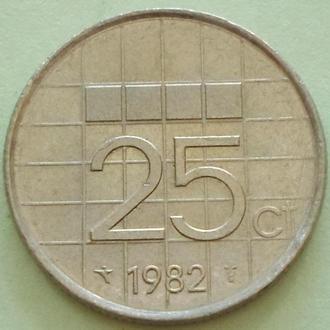 (А) Нидерланды 25 центов, 1982