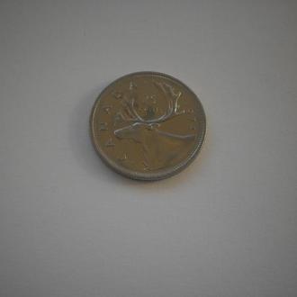 Канада. Квотер. 25 центів. Фауна. Великий північний олень. 1974 рік. Нечаста монета. Недорого.