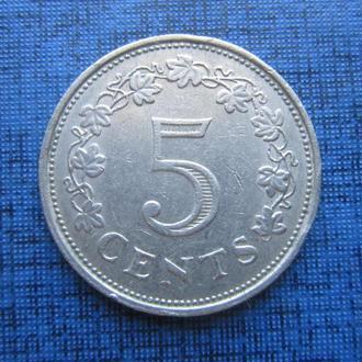 монета 5 центов Мальта 1972
