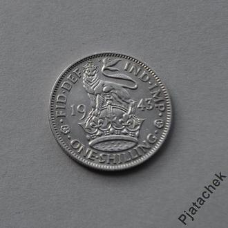 Великобритания 1 шиллинг 1943 серебро  №4СЛ