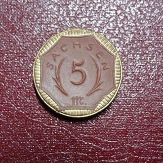 Германия Саксония 5 марок 1921 керамика позолота