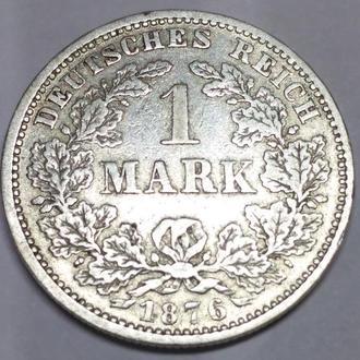 1 марка 1876 J, Германская империя, серебро, оригинал! Сохран!