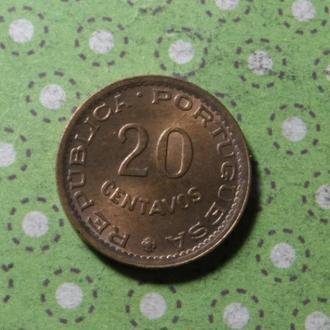 Мозамбик 1973 год монета 20 сентимов Португальский !