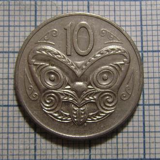 Новая Зеландия, 10 центов 1980 г Маска Maori.