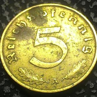 Третий Рейх 5  пфеннигов 1938 A год СВАСТИКА!!!
