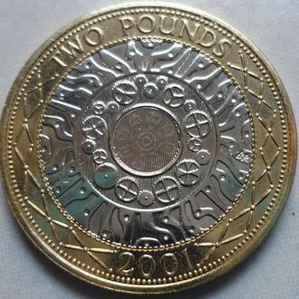 Великобритания 2 фунта 2001 биметалл состояние