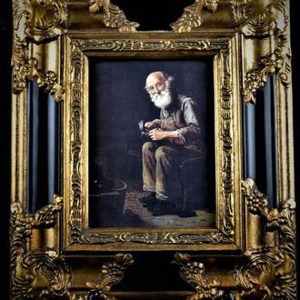 картина на фарфоре в раме еврейский сапожник