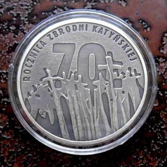 """10 ЗЛОТЫХ ПОЛЬША 20010 """"Катынь"""" состояние UNC!!! РЕДКАЯ серебро"""