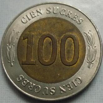 Эквадор 100 сукрэ 1997 юб. биметалл состояние