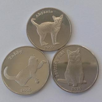 НОВИНКА. Набор монет 3 монеты 1 фунт Кошки. Шотландия (остров Строма) 2016
