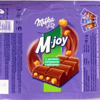 Обёртка от шоколада Milka M-Joy Молочний шоколад з цілими лісовими горіхами 70 г