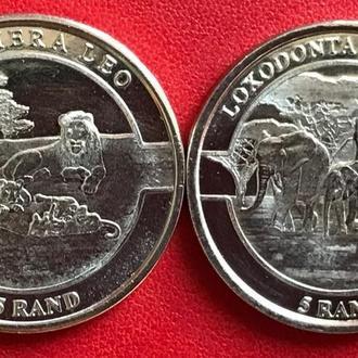 Riphabuliki ya Venda 2019 5 rand Panthera Leo Loxodonta Africana Лев Слон республіка Венда 5 рандов