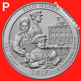 """США, 25 центов, квотер 2017 года, 39 парк, двор """"P"""" (O3571)"""