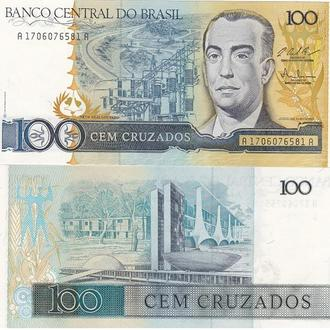 Brazil Бразилия - 100 Cruzeiros 1987  P. 211c (1986) UNC Javir