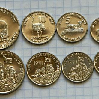 Эритрея, набор современных монет, всего 4 шт