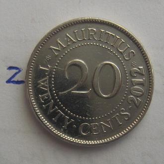 МАВРИКИЙ. 20 центов 2012 года.