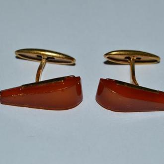 красивые запонки янтарь позолота вес 6,24 грамм хорошее состояние винтаж