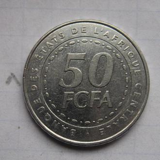 ЦЕНТРАЛЬНАЯ АФРИКА 50 франков 2006 года.