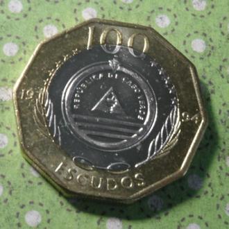 Кабо-Верде монета 100 эскудо 1994 год биметалл !