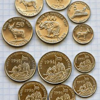 Эритрея, полный набор современных монет, всего 6 шт