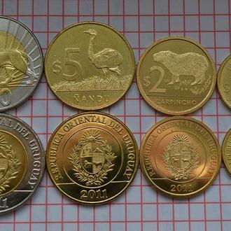 Уругвай, набор современных монет - фауна (4 шт) 2011, анц