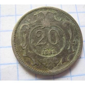 20 ГЕЛЛЕР 1893 АВСТРО-ВЕНГРІЯ