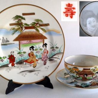 Чашка блюдце тарелка Две Гейши фарфор литофания №2 Japan