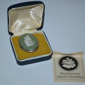 брошь яшмовая масса камея серебро 925 проба вес 10,62 грамм в коробке винтаж wedwood jasper jeweller
