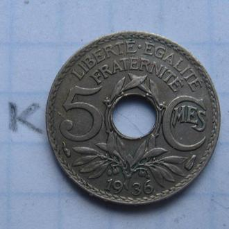 Франция. 5 сантимов 1936 г.