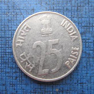 монета 25 пайсов Индия 1993 фауна носорог