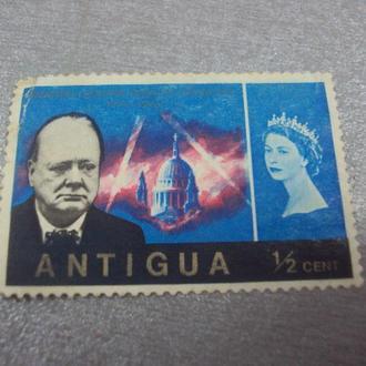 марка Антигуа 1/2 центов черчиль королева №251