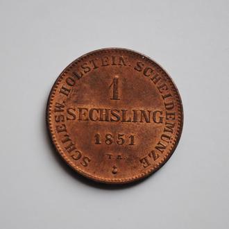 Шлезвиг-Гольштейн 1 зехслинг 1851 г., UNC, 'Временное Государство (1848-1851)', ОЧЕНЬ РЕДКАЯ
