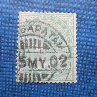 Марка Индия колония 1882-1890 стандарт Виктория 1/2 анна гаш