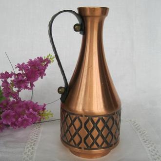 Шикарный медный кувшин ваза !Н=18 см.Из Франции!