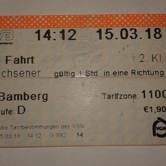 Билет автобус Бамберг.