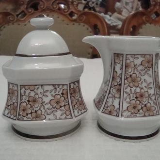 Старинный набор Молочник Сахарница Фарфор Бавария Германия №380