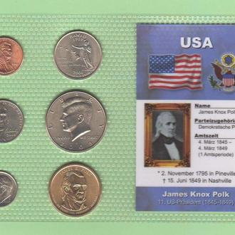 Набор монет США: 11 -й Президент США - Джеймс Нокс Полк - James Knox Polk - пластик блистер запайка