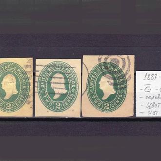 USA / США  --   1887 - 1894 гг - разновидности - овал , голова  и др