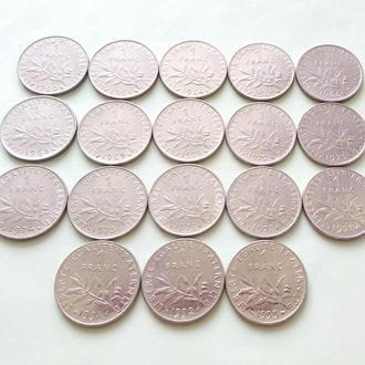 (А) Франция 1 франк 18 шт Все Разные