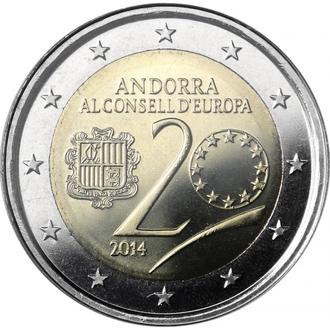 2 евро 2014 г. Андорра (Банковский блистер)