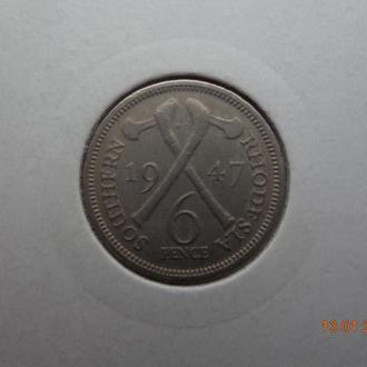 """Южная Родезия 6 пенсов 1947 George VI """"Crossed axes"""" отличное состояние очень редкая"""